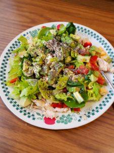 salad with Crock Pot Garlic Herb Chicken in it