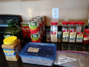 ingredients for Freezer Spaghetti or Pizza Sauce