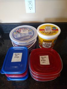 Freezer Spaghetti or Pizza Sauce packaged in containers for the freezer