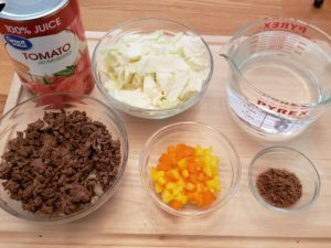 Ingredients for Low Carb Beefy Cabbage Soup