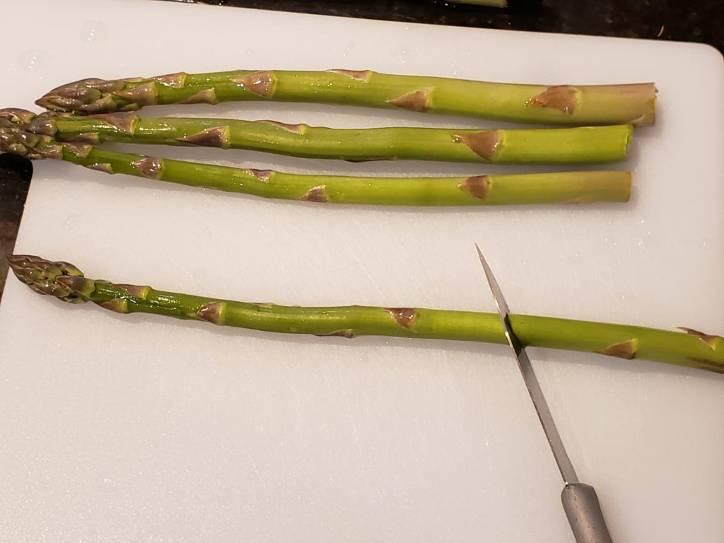 cutting asparagus