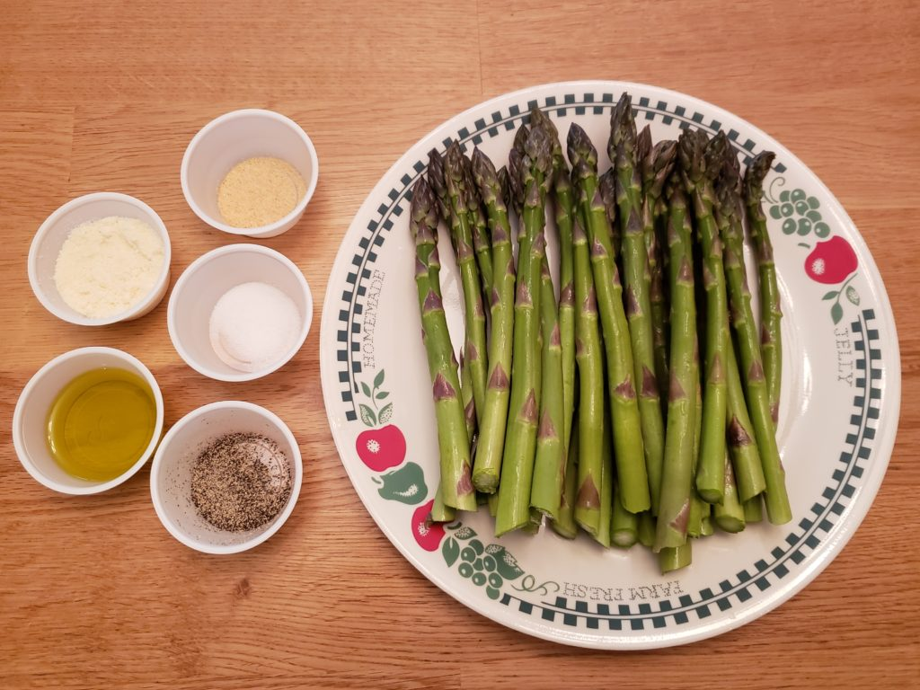 ingredients for parmesan roasted asparagus