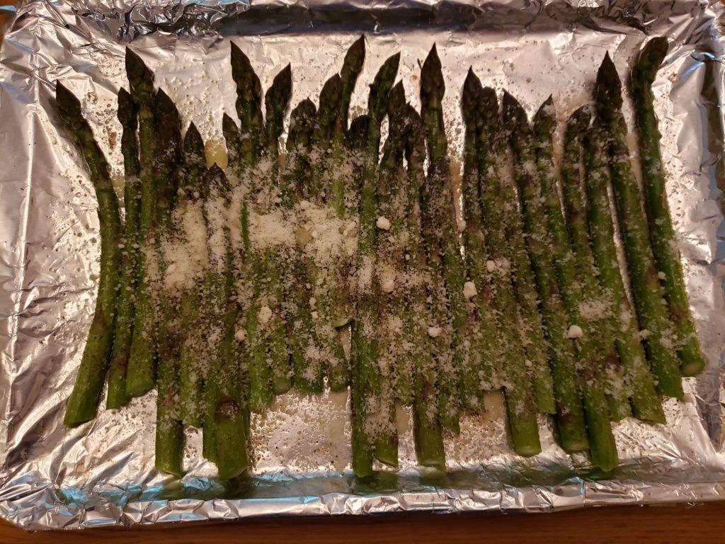 Roasted Parmesan Asparagus on baking sheet