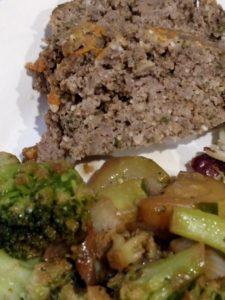 Paleo Meatloaf with simple vegetable stir fry