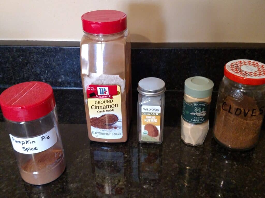 Ingredients for Homemade Pumpkin Pie Spice