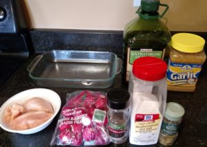 ingredients for Low Carb Rosemary Chicken and Radishes