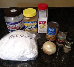 Ingredients for Crock Pot Beef Shanks