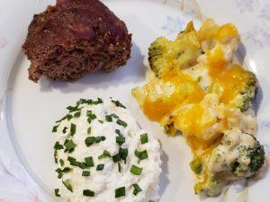 Paleo meatloaf with Keto Mashed Cauliflower and broccoli cheesy bake