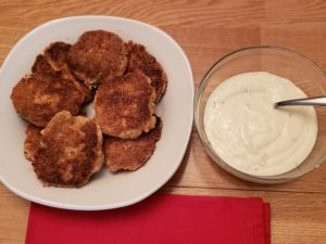 Gluten Free Salmon Cakes with lemon herb mayonnaise on the side