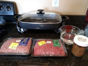 meat and Homemade Taco Seasoning ready to cook