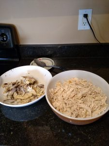 shredded cooked chicken