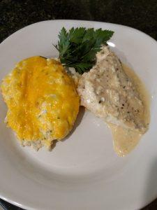 Twice Baked Cauliflower Casserole and chicken with gravy