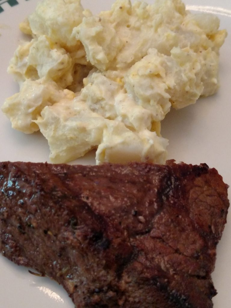 Best Ever Potato Salad and steak