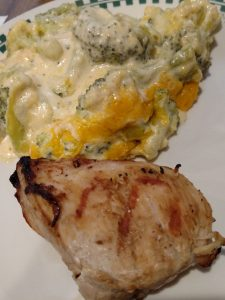 Balsamic Grilled Chicken and cheesy broccoli and cauliflower