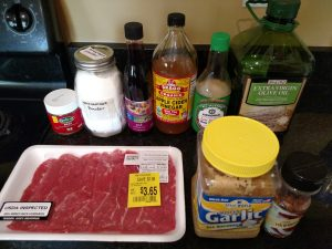 ingredients for Crock Pot Beef and Broccoli Freezer Meal