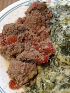 Low Carb Crock Pot Meatballs and creamed spinach