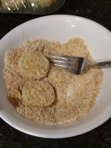 eggplant in bowl with breading