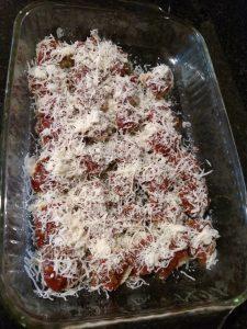 Gluten Free Eggplant Parmesan before baking
