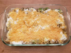 Cheesy Low Carb Cabbage ready to go into the oven