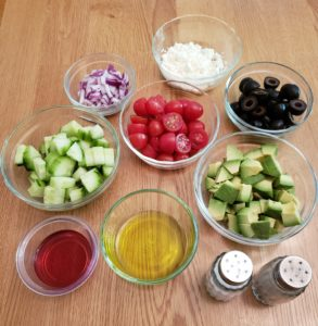 Ingredients for Greek Cucumber Avocado Salad