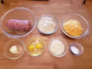 ingredients for Low Carb Gluten Free Sausage Balls in glass bowls