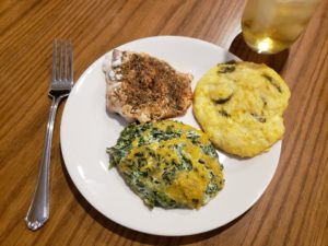 Blackened Salmon on a plate with Low Carb Jalapeno Cheddar Cheese Biscuits and Creamy Cheese Spinach