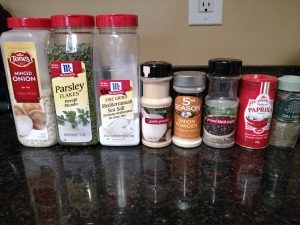 Ingredients for Dry Homemade ranch dressing Mix