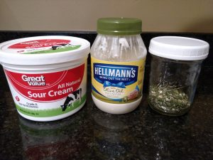 sour cream, mayo and ranch dressing mix