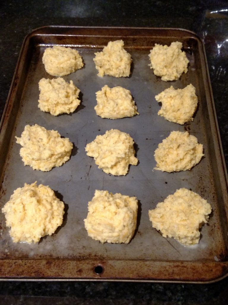 Low Carb Garlic Cheese Biscuits on baking sheet before being baked