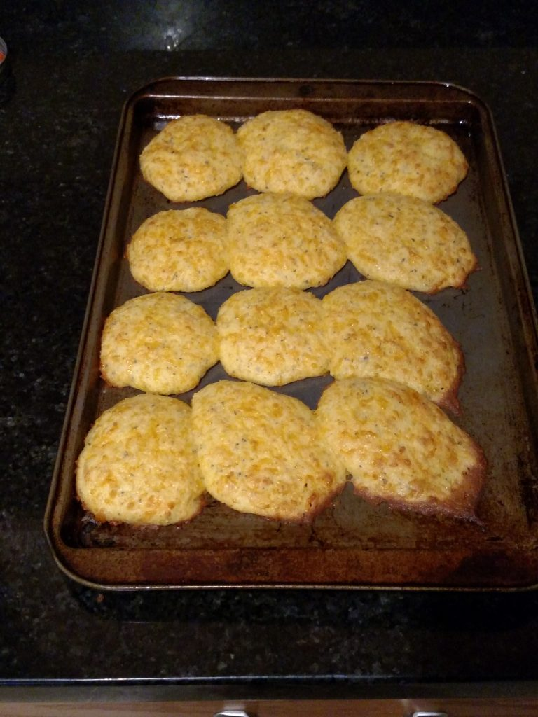 Low Carb Garlic Cheese Biscuits on baking sheet