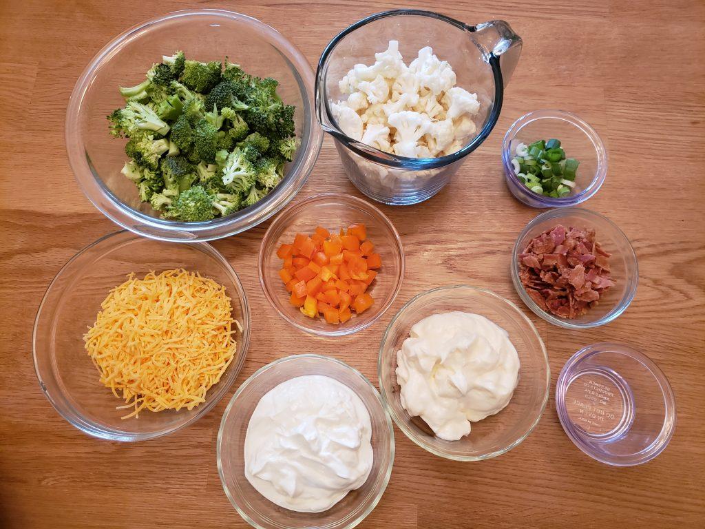 Ingredients for Creamy Broccoli Cauliflower Salad