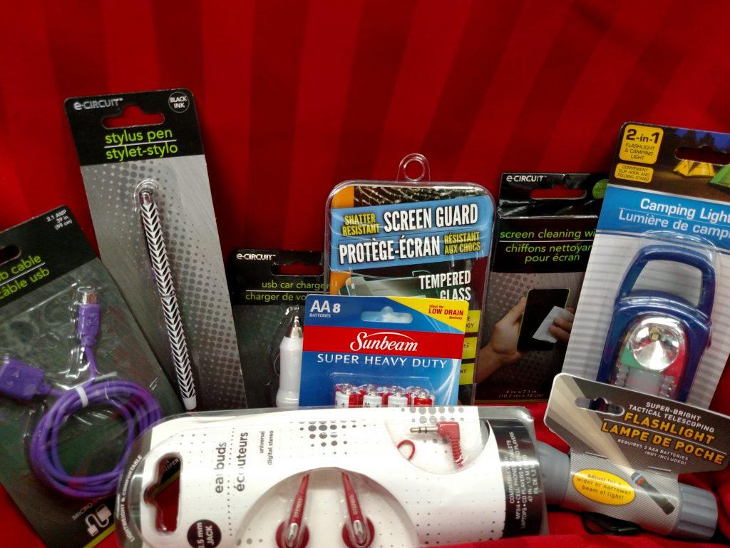 small electronics, camping light, ear buds, batteries, screen guard, stylus pen, flashlight