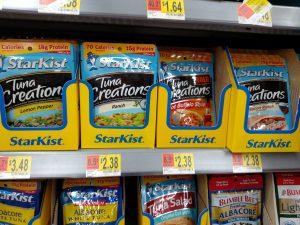 Starkist tuna packets on store shelf