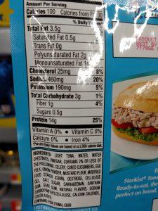 Starkist tuna packet label