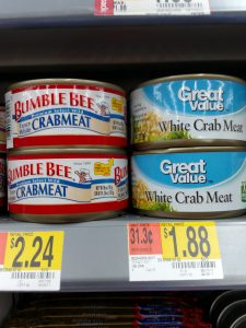Bumble Bee and Great Value White Crab Meat in store