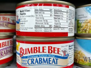 Bumble Bee Crab Meat label