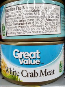 Great Value White Crab Meat label
