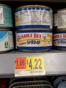 Bumble Bee shrimp label