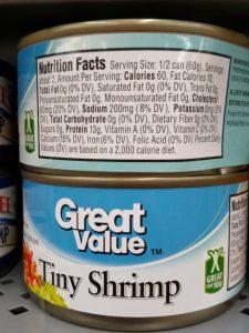 Great Value Shrimp label
