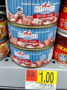 Can of diced ham in store