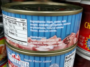 Can of diced ham label