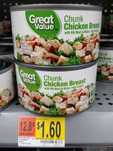 Great Value can of chicken in store