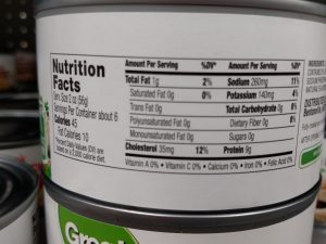Great Value can of chicken label