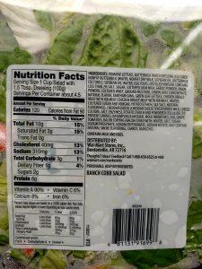 Ranch Cobb salad label
