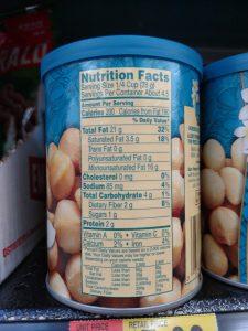 macadamia nuts label