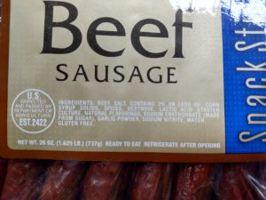 Great value beef sausage snacks label
