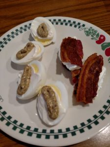 lazy deviled eggs and bacon with cream cheese