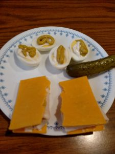 cheddar cheese slices with mayo, mustard and lunchmeat inside. And lazy deviled