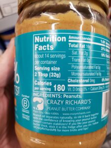 crazy richards peanut butter jar label