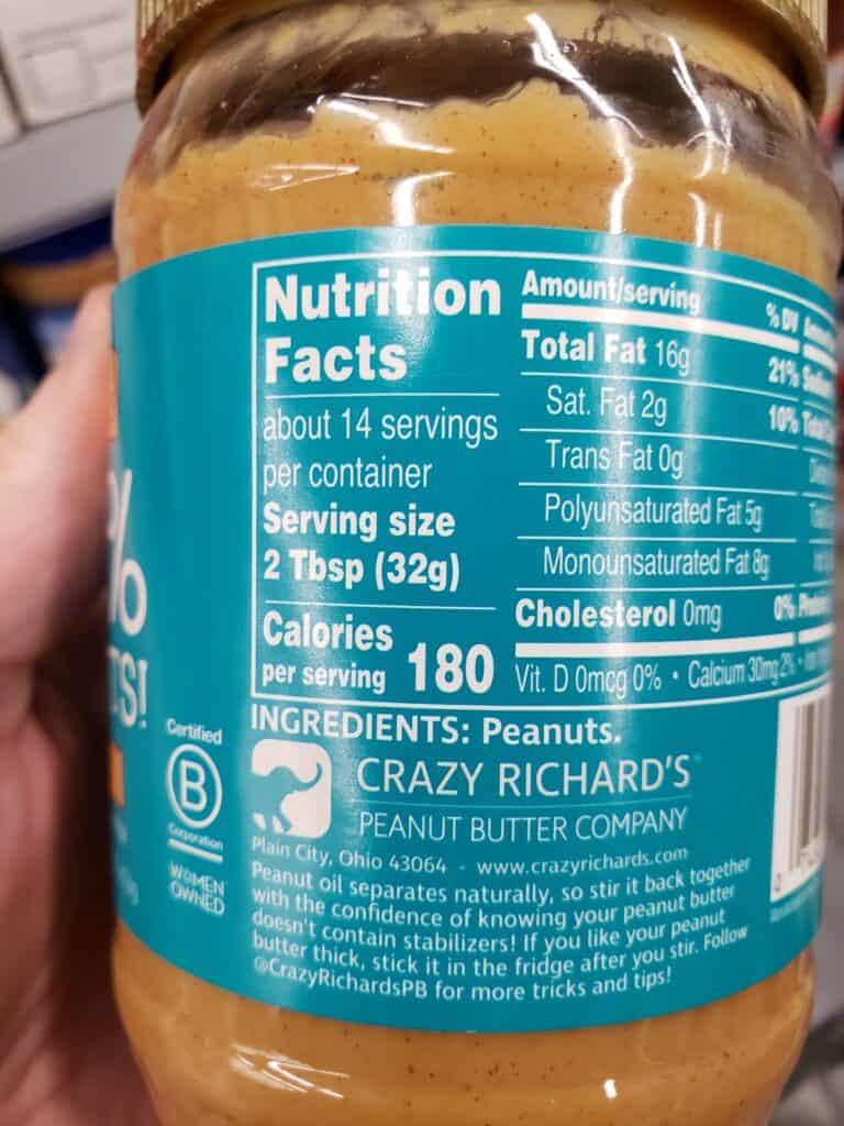 crazy richards peanut butter jar label